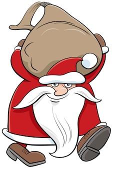 Cartone animato babbo natale personaggio di natale che trasporta sacco di doni