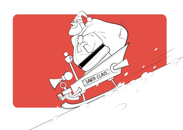 Cartoon babbo natale scende dalla montagna in slitta.