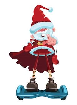 Cartoon babbo natale sta guidando un gyroscooter. illustrazione di natale con il nonno allegro in costume della santa.