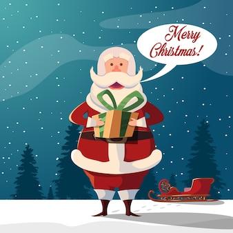 Cartoon babbo natale merry christmas illustration