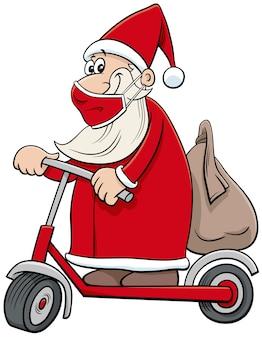 Cartone animato babbo natale in sella a uno scooter elettrico a natale