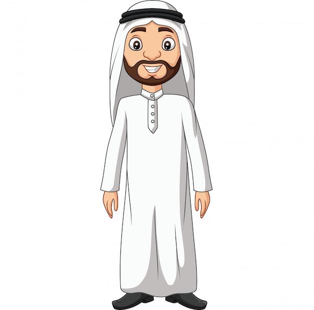 Cartone animato uomo arabo saudita in abiti bianchi