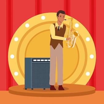 Sassofonista di cartoni animati sul palco, gruppo musicale jazz