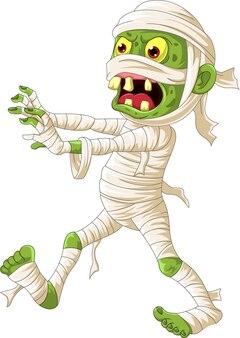 Cartone animato spaventoso halloween mummia che cammina