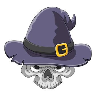 Il cartone animato del teschio spaventoso che usa il vecchio cappello da witcher per l'ispirazione del libro di fiabe
