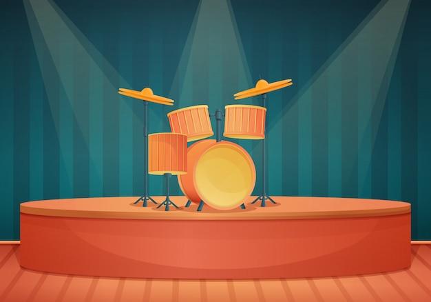Scena del fumetto con tamburi e faretti, illustrazione