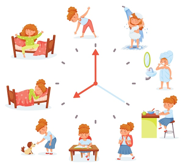 Attività di routine quotidiana della ragazza della scuola del fumetto che esercitano il programma quotidiano di igiene del bambino di scuola