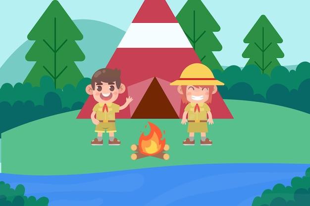 Scout dei cartoni animati con tenda e fuoco da campo vettore premium