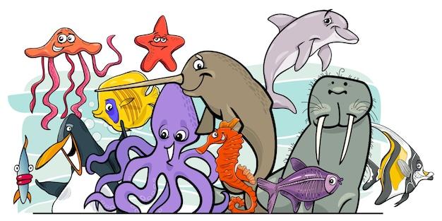 Gruppo di personaggi animali cartoon vita di mare
