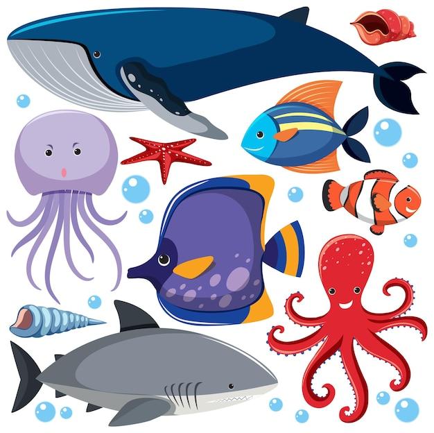 Cartoon sea life seamless pattern con personaggio di animali marini