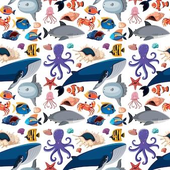 Modello senza cuciture di vita marina dei cartoni animati con animali marini