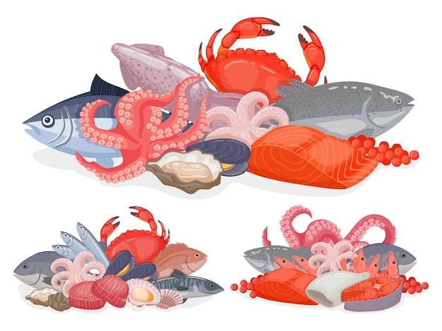 Design di prodotti a base di pesce dei cartoni animati per menu, poster del negozio o pacchetto. mucchio con pesce dell'oceano, aragosta, ostriche e granchio. insieme di vettore di cibo marino. pubblicità per ristorante o negozio con frutti di mare