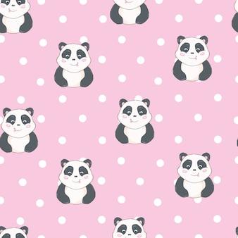 Cartoon panda seamless pattern