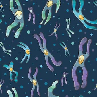 Cartoon seamless pattern di cromosomi.