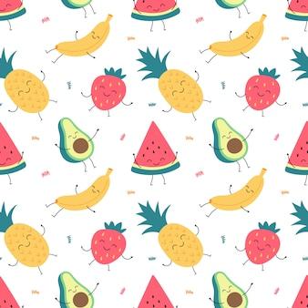Reticolo senza giunte del fumetto di frutta divertente, banana, anguria, ananas, avocado, fragole.