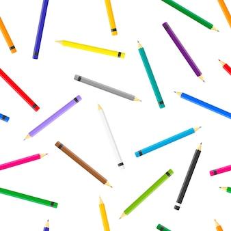 Cartone animato seamless con matite colorate su sfondo bianco per web, stampa, trama di stoffa o carta da parati.