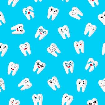 Modello senza cuciture del fumetto con caratteri di denti carini con emozioni diverse per il web, la trama del tessuto o lo sfondo