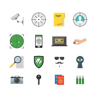 Cartoon security e spy color icons set service per il monitoraggio e la protezione della privacy.