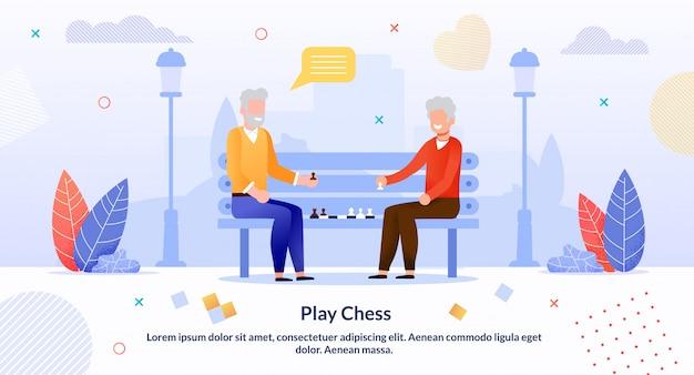 Uomini senior del fumetto che giocano scacchi nel manifesto del parco