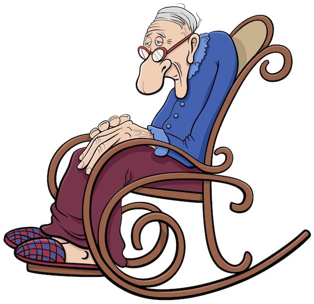 Cartone animato senior nel personaggio dei fumetti sedia a dondolo
