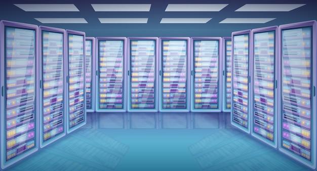 Stanza del server del fumetto con i gabinetti con i server, illustrazione