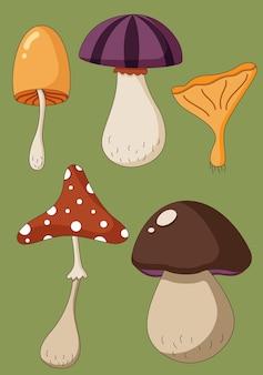 Cartoon set di funghi colorati avvelenati e cibo vegetariano sano