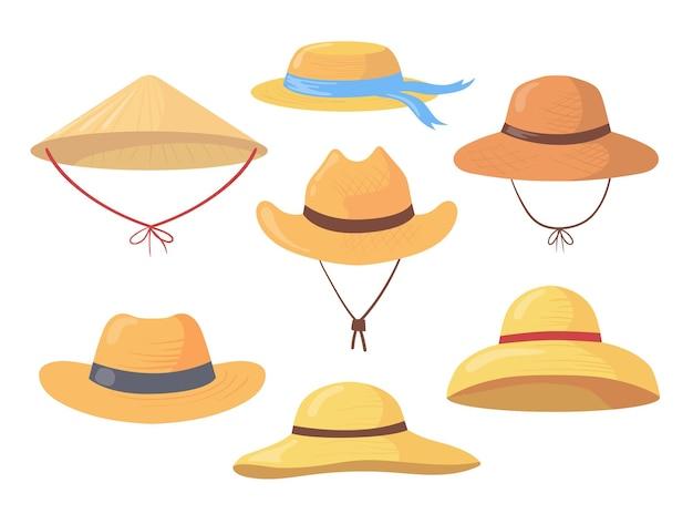 Insieme del fumetto di diversi cappelli di paglia contadino. illustrazione piatta. Vettore Premium