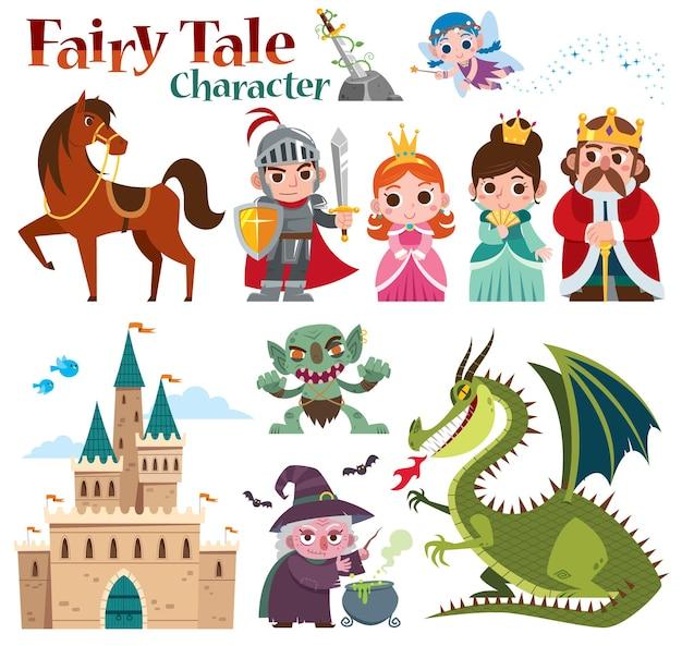 Set di cartoni animati personaggi di fiabe