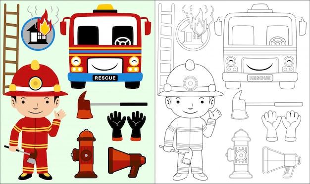 Cartone animato di attrezzature antincendio set