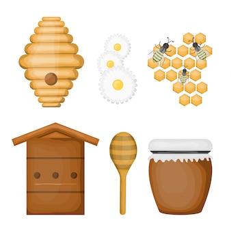 Insieme del fumetto di prodotti a base di miele e attrezzature su sfondo bianco.