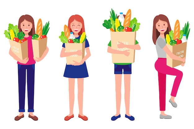 Insieme del fumetto delle illustrazioni con le ragazze felici che tengono i sacchetti della spesa di carta di eco con alimento biologico sano fresco isolato su fondo bianco. prendersi cura del concetto di ambiente. shopping ecologico.