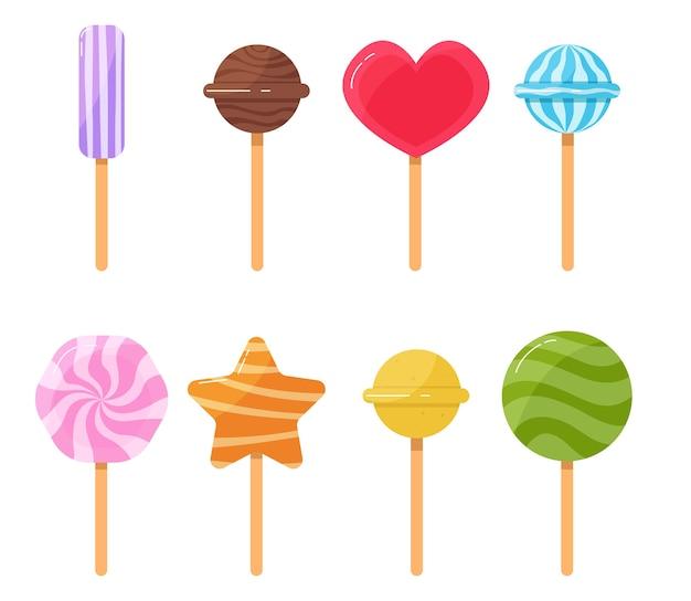 Insieme del fumetto di dolci isolati lecca-lecca dolce