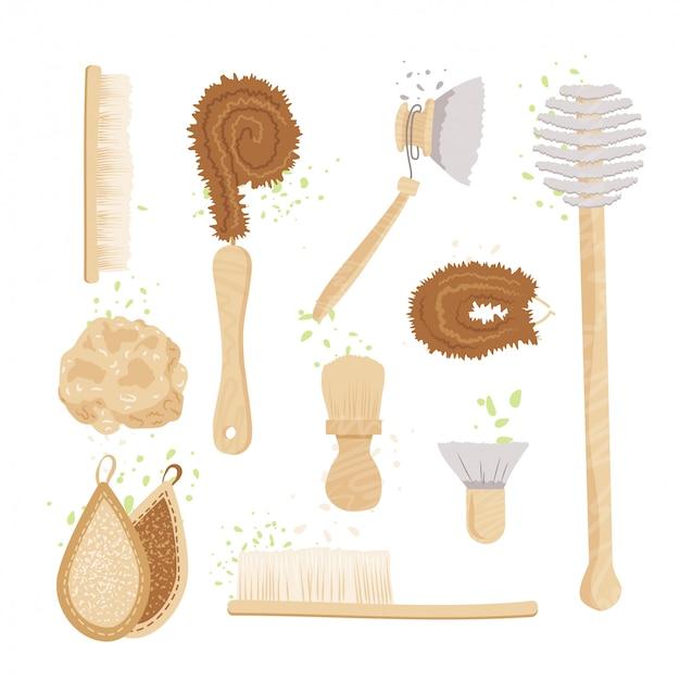 Insieme del fumetto di spazzole, pastiglie e spugne per la pulizia della cucina domestica e della casa. kit lavapavimenti e lavapiatti ecologico zero waste. spazzola in bambù naturale da cucina biologica.