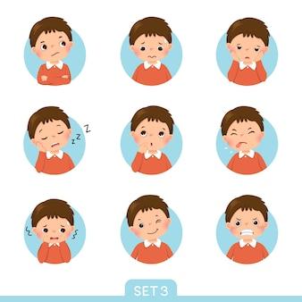 Set di cartoni animati di un ragazzino in diverse posizioni con varie emozioni. serie 3 di 3.