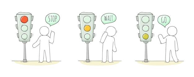 Insieme del fumetto - uomini con semaforo. scena di doodle sulla sicurezza stradale. illustrazione vettoriale disegnata a mano per il design di avvertimento.