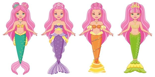 Insieme del fumetto di bambole sirena