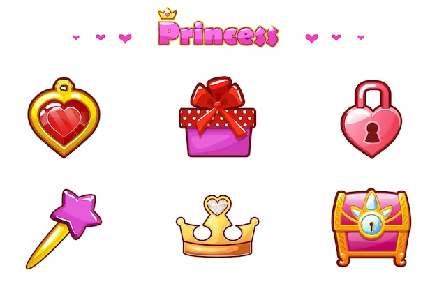 Cartoon set princess icons, attività di gioco da ragazzina