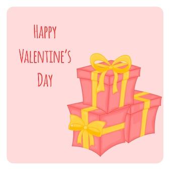Cartone animato con animali e scritte per san valentino. adesivi nel regalo.
