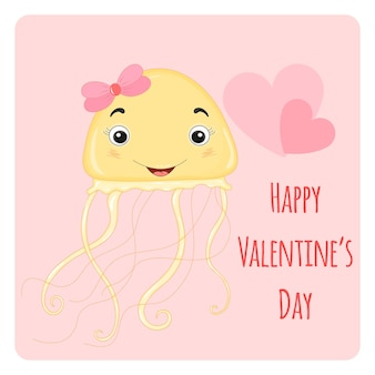 Cartone animato con animali e scritte per san valentino. adesivi nella medusa.
