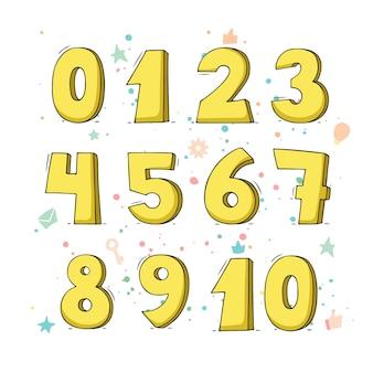 Set di cartoni animati con numeri diversi. illustrazione di doodle su scuola e matematica.
