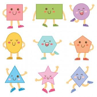 Forme di cartone animato per bambino isolato su bianco
