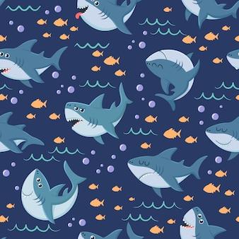 Modello di squali del fumetto nuoto senza cuciture dell'oceano, squalo marino e fondo subacqueo del mare