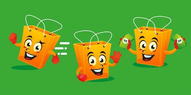 Disegno della mascotte del sacchetto della spesa del fumetto