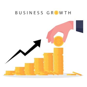 Un fumetto che mostra la crescita del business presenta un grafico crescente di denaro