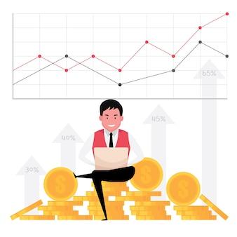 Un fumetto che mostra la crescita del business caratterizza un uomo che lavora al computer con uno sfondo di denaro e grafico statistico