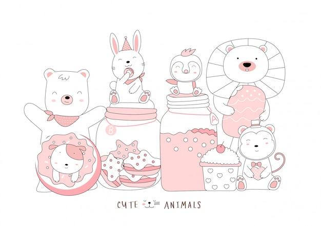 Cartoon schizzo il simpatico animaletto. stile disegnato a mano. Vettore Premium