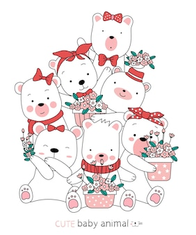 Schizzo del fumetto i simpatici animali dell'orso. stile disegnato a mano.