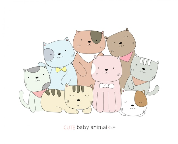 Cartoon schizzo il simpatico gatto baby animal. stile disegnato a mano.