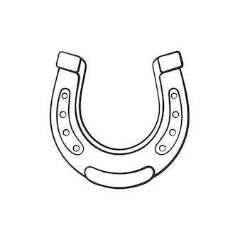 Schizzo del fumetto del ferro di cavallo simbolo di buona fortuna doodle disegnato a mano illustrazione vettoriale