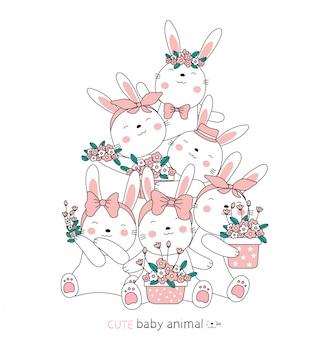 Schizzo del fumetto gli adorabili cuccioli di coniglio e floreali. stile disegnato a mano